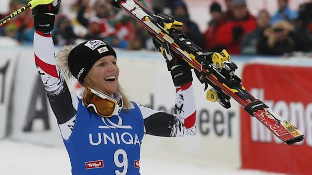 Austria's Marlies Schild celebrates after winning the women's giant slalom World Cup race in Lienz (Reuters)