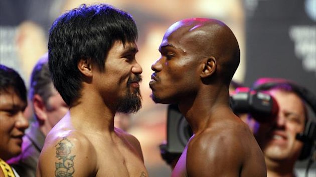 Manny Pacquiao and Timothy Bradley face off ahead of their WBO welterweight title fight
