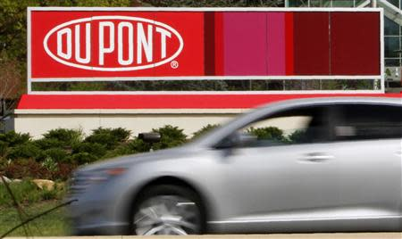 File photo of the Dupont logo on a sign at the Dupont Chestnut Run Plaza facility near Wilmington, Delaware