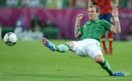 Irish midfielder Glenn Whelan during the Euro 2012 match against Spain on June 14. Whelan has spoken for the first time of the frustration Ireland's players feel playing in Giovanni Trapattoni's rigid formation