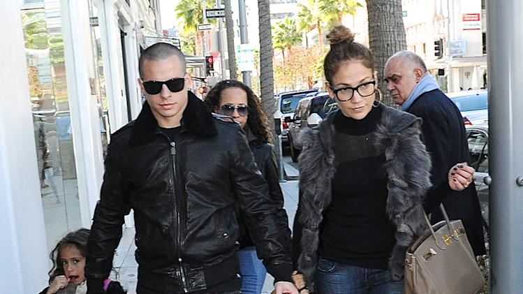Jennifer Lopez, Casper Smart and her kids Emme Marbiel Muniz Anthony and Maximilian David Muniz Anthony in Beverly Hills