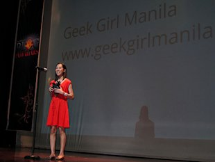 Geek Girl on stage at the 2011 Philippine Blog Awards
