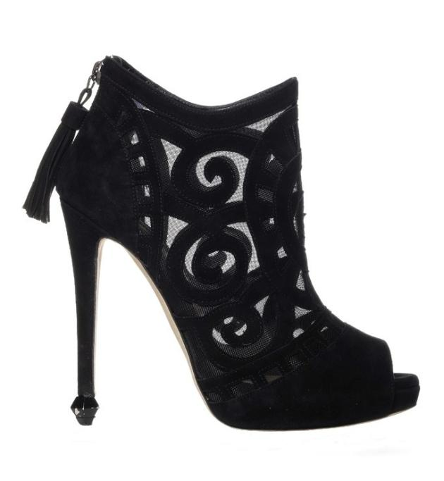 #4 Sexiest Shoe: Chrissie Morris suede, mesh and stingray peep-toe ankle boot, $1,365