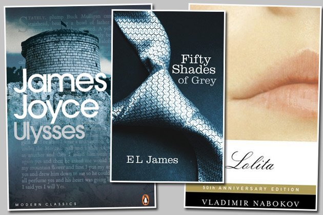 """Ulysses"", ""Fifty Shades of Grey"" und ""Lolita"": Verbotene Bücher (Bilder: Amazon)"