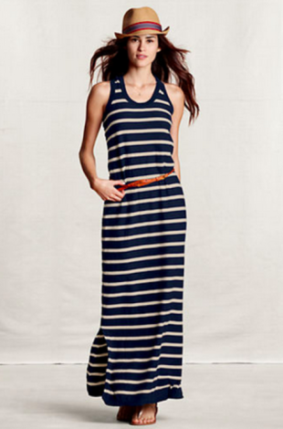 Reverse Jersey Striped Sweater Dress