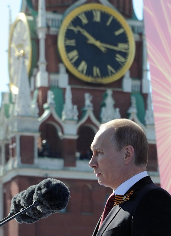 Russian president vladimir putin speaks during a victory day parade