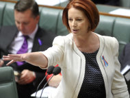 PM Julia Gillard (pic) labelled Julie Bishop an embarrassment to Opposition Leader Tony Abbott