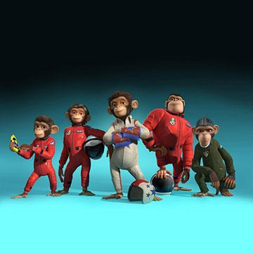 Comet (voiced by Zach Shada ), Luna (voiced by Cheryl Hines ), Ham (voiced by Andy Samberg ), Titan (voiced by Patrick Warburton ) and Houston (voiced by Carlos Alazraqui ) in 20th Century Fox's Space Chimps