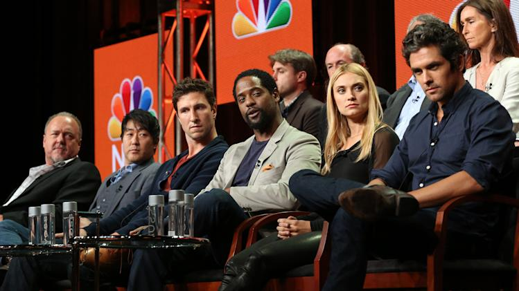 "This image released by NBC shows,front tow from left, Brent Sexton, Kenneth Choi, Pablo Schreiber, Blair Underwood, Spencer Grammar and Neal Bledsoe at the ""Ironside"" session during the NBCUniversal Press Tour in Beverly Hills, Calif., on Saturday, July 27, 2013. (AP Photo/NBC, Chris Haston)"