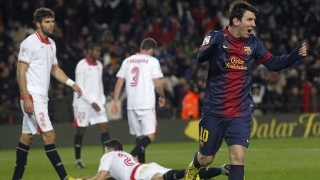 Spanish Liga - Messi scores again as Barca fight back to beat Sevilla