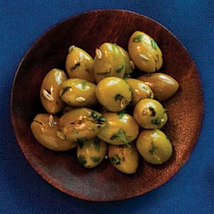 Cracked Green Olives with Fennel