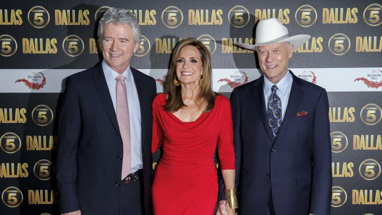 U.S actors Patrick Duffy, Linda Gray and Larry Hagman arrive for the Dallas launch party at a central London venue, Tuesday, Aug. 21, 2012. (AP Photo/Jonathan Short)