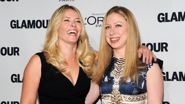 "Television personality Chelsea Handler, left, and Chelsea Clinton attend Glamour Magazine's 22nd annual ""Women of the Year Awards"" at Carnegie Hall on Monday Nov. 12, 2012 in New York. (Photo by Evan Agostini/Invision/AP)"