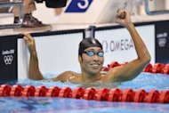 Japan's Kosuke Hagino reacts after he competed in the men's 400m individual medley heats swimming event at the London 2012 Olympic Games