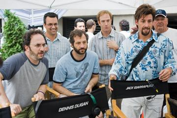 Screenwriters Robert Smigel and Judd Apatow , producer Jack Giarraputo and Adam Sandler on the set of Columbia Pictures' You Don't Mess With the Zohan