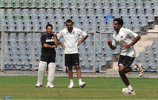 Sachin Tendulkar and Zaheer Khan practice with Mumbai team ahead of Ranji Trophy match against Haryana in Lahli, Rohtak in Mumbai on Oct.23, 2013. (Photo: B L Soni/IANS)