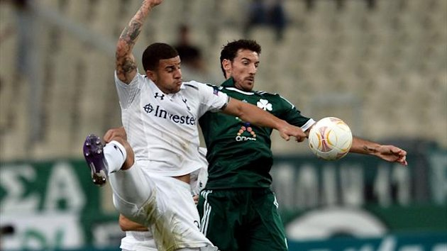 Tottenham's Kyle Walker (L) vies for the ball with Toche of Panathinaikos (AFP)