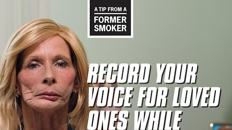 This image provided by the Centers for Disease Control and Prevention shows a poster from their anti-smoking advertising campaign, launched on Thursday, March 28, 2013. The ad is part of the second round of a graphic ad campaign designed to get smokers off tobacco. The CDC says they believe the last effort convinced tens of thousands to quit. (AP Photo/CDC)