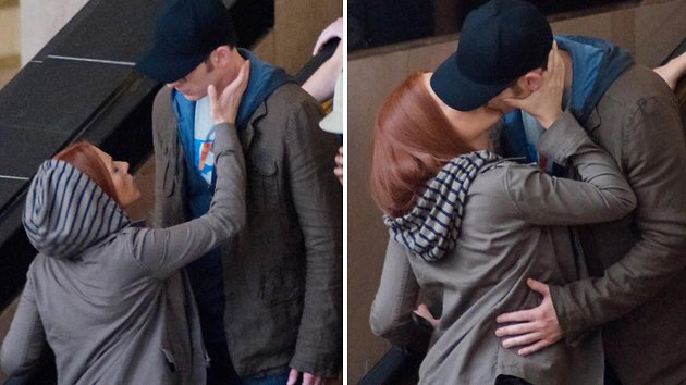 Scarlett Johansson and Chris Evans kissing on the set of 'Captiain America'