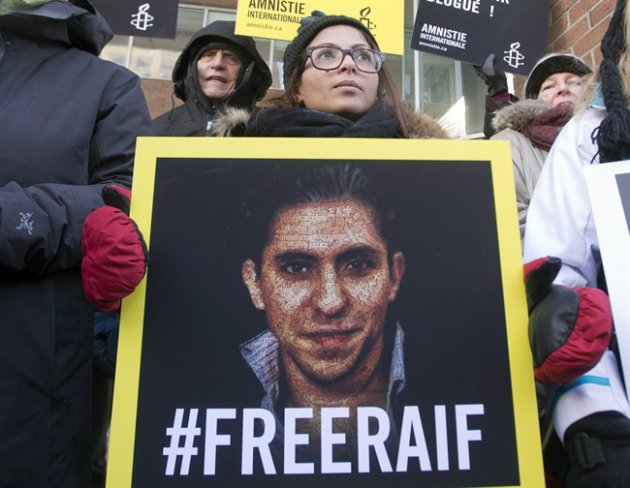 Ensaf Haidar, wife of blogger Raif Badawi, takes part in a rally for his freedom in Montreal