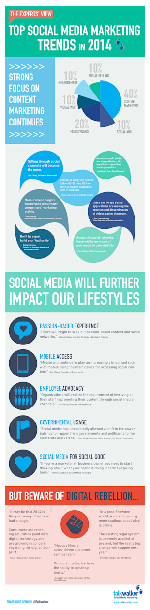 13 Social Media Marketing Trends in 2014 from the Experts image infographics top trends 2014 611