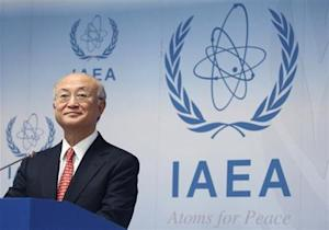 IAEA Director General Amano addresses the media after a board of governors meeting at the IAEA headquarters in Vienna