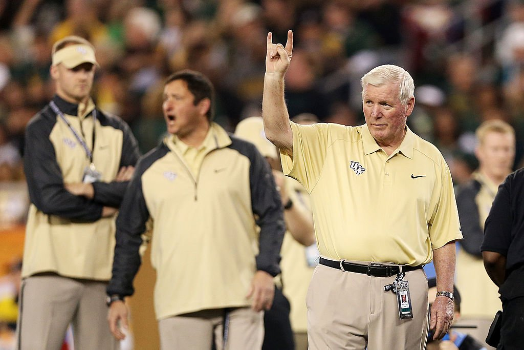 GLENDALE, AZ - JANUARY 01: Head coach George O'Leary of the UCF Knights gestures during their 52 to 42 win over the Baylor Bears in the Tostitos Fiesta Bowl at University of Phoenix Stadium on January 1, 2014 in Glendale, Arizona. (Photo by Christian Petersen/Getty Images)