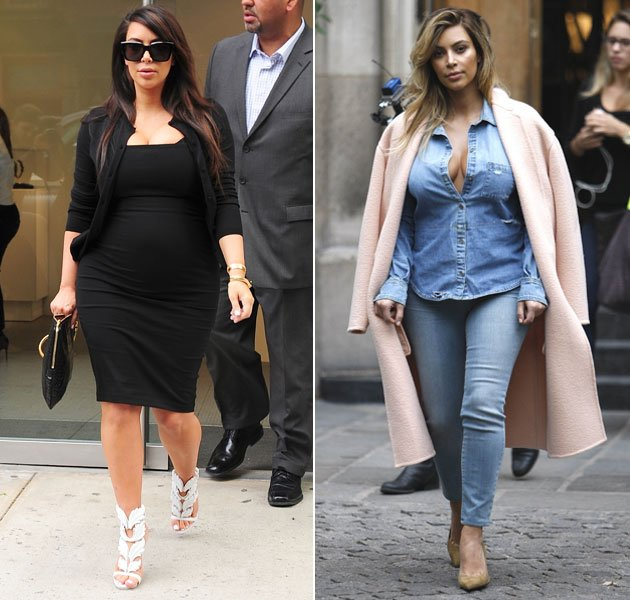 Kim Kardashians After-Baby-Body (r.) kann sich sehen lassen! (Bilder: ddp Images, Getty Images)