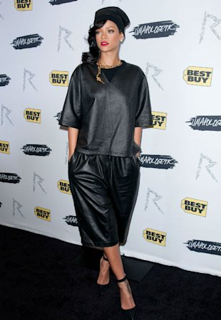 Rihanna Is Unapologetic About Baggy, Boring Leather Outfit At Album Launch In NYC