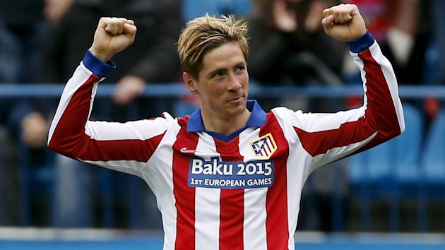 Atletico Madrid's Fernando Torres celebrates after scoring a goal against Getafe