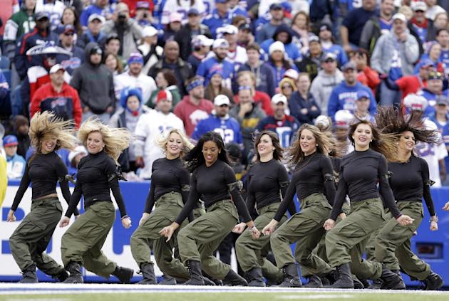 In this Nov. 17, 2013, photo, Buffalo Bills cheerleaders perform during the Bills' NFL football game against the New York Jets in Orchard Park, N.Y. The Bills will be playing without the support o