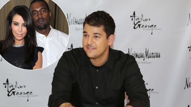 Rob Kardashian / inset: Kim Kardashian and Kanye West -- Getty Premium