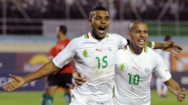 Algeria's Soudani al-Arabi Hillal celebrates scoring in an African Nations Cup qualifier (AFP)