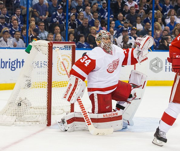 TAMPA, FL - APRIL 21: Goalie Petr Mrazek #34 of the Detroit Red Wings skates against the Tampa Bay Lightning during Game Five of the Eastern Conference First Round in the 2016 NHL Stanley Cup Playoffs at the Amalie Arena on April 21, 2016 in Tampa, Florida. (Photo by Scott Audette/NHLI via Getty Images)