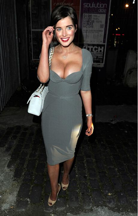 Sexy Helen Flanagan pics: Helen and her boobs turn up to wish former Corrie actress Katherine Kelly farewell at her leaving party in 2011. [Wenn]