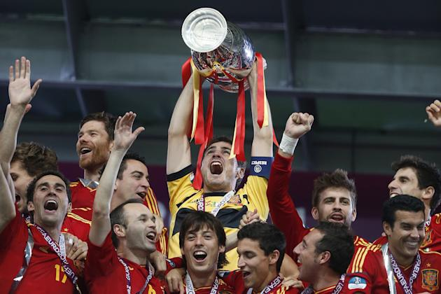 -	Euro 2012: World champion Spain defended their European title in style and fashion, thrashing Italy 4-0 in the final.