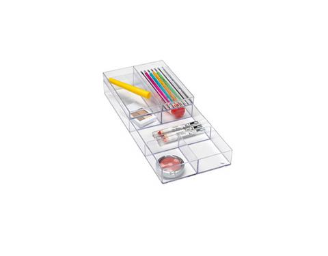 Container Store Stacking Vanity Trays, $12.99, containerstore.com