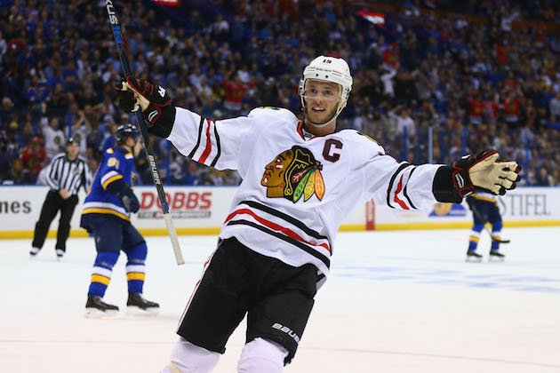 ST. LOUIS, MO - APRIL 21: Jonathan Toews #19 of the Chicago Blackhawks celebrates after the Blackhawks scored a goal against the St. Louis Blues in Game Five of the Western Conference First Round during the 2016 NHL Stanley Cup Playoffs at the Scottrade Center on April 21, 2016 in St. Louis, Missouri. (Photo by Dilip Vishwanat/ Getty Images)