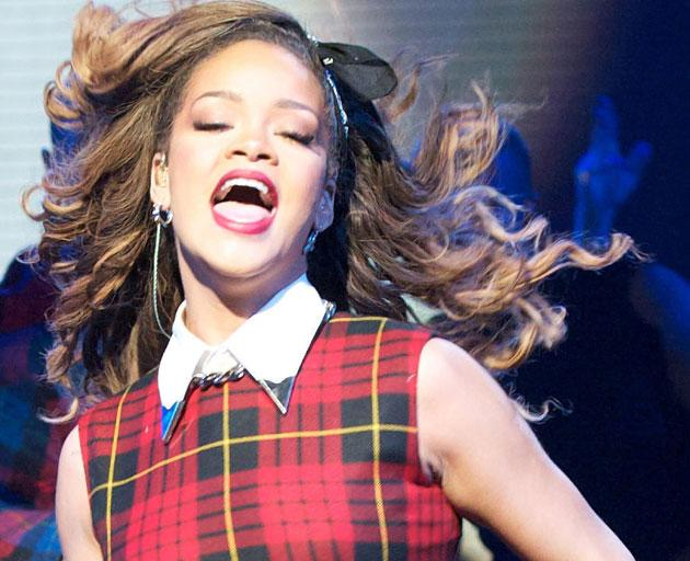 Rihanna wore a red tartan dress on X Factor