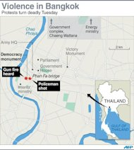 Map of Thailand's capital Bangkok locating violent clashes between police and anti-government protesters