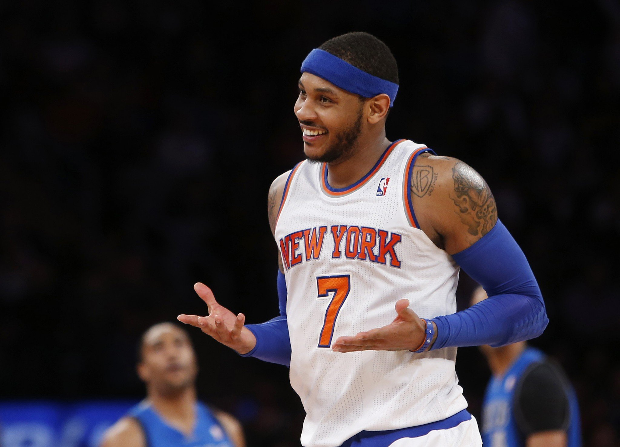Carmelo Anthony smiles and shrugs. Sometimes, that's all there is to do. (AP)