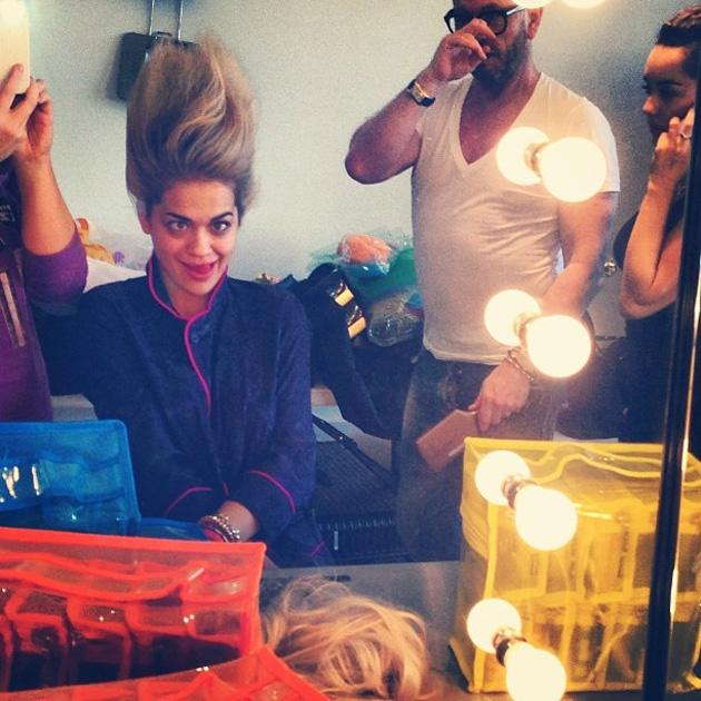 "Celebrity Twitpics: Rita Ora tweeted this snap of herself pulling a silly face for the camera as she had her hair and makeup done ahead of a photoshoot. She tweeted it alongside the caption: ""Troll-in"