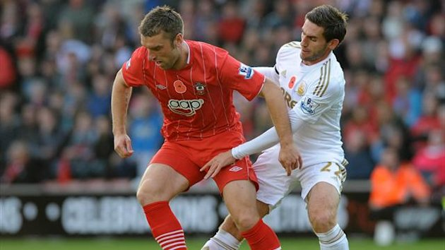 outhampton : Southampton's English striker Rickie Lambert (L) vies with Swansea City's Spanish defender Angel Rangel