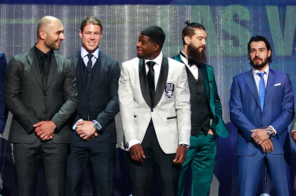 LAS VEGAS, NV - JUNE 22: (L-R) Mark Giordano of the Calgary Flames, Matt Martin of the New York Islanders, P.K. Subban of the Montreal Canadiens, Brent Burns of the San Jose Sharks and Drew Doughty of the Los Angeles Kings stand onstage during the 2016 NHL Awards at The Joint inside the Hard Rock Hotel & Casino on June 22, 2016 in Las Vegas, Nevada. (Photo by Jeff Vinnick/NHLI via Getty Images)