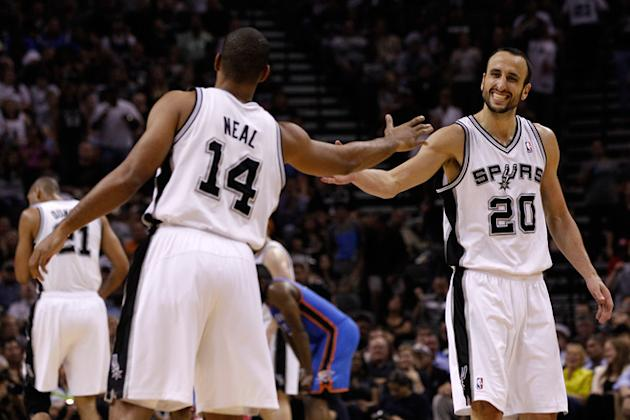 Manu Ginobili #20 And Gary Neal #14 Of The San Antonio Spurs Celebrate A Play In The Second Half While Taking On The  Getty Images