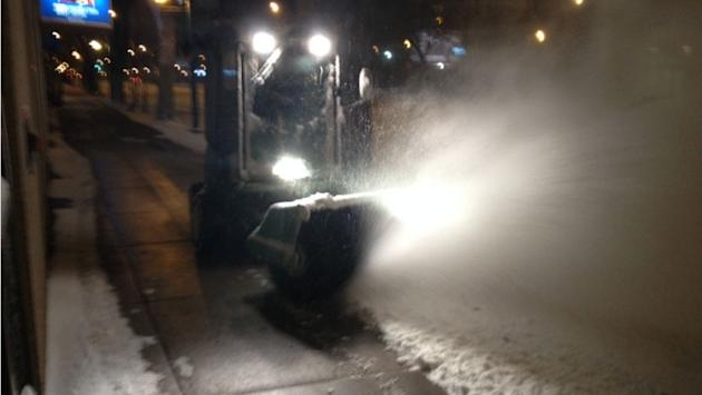 Snow-clearing machines were out in force in Saskatoon Monday morning.