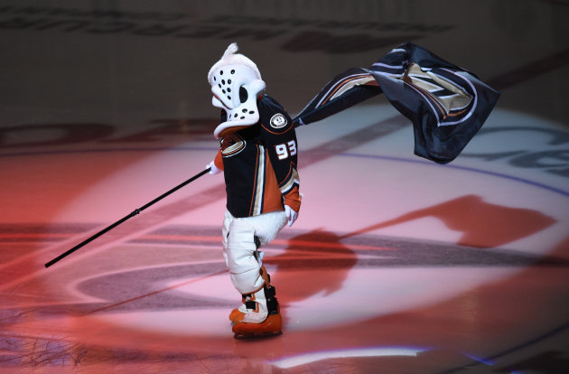 Jan 4, 2015; Anaheim, CA, USA; Anaheim Ducks mascot Wild Wing holds a flag prior to the game between the Anaheim Ducks and the Nashville Predators at Honda Center. (Kelvin Kuo-USA TODAY Sports)