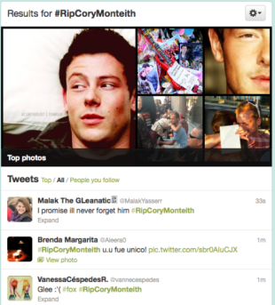 Cory Monteiths Death   How Glee Fans Responded Via Social Media image screen shot 2013 07 20 at 8 09 20 pm