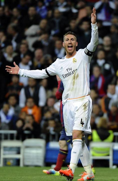 Real Madrid's Sergio Ramos during their La Liga match against Barcelona in Madrid on March 23, 2014