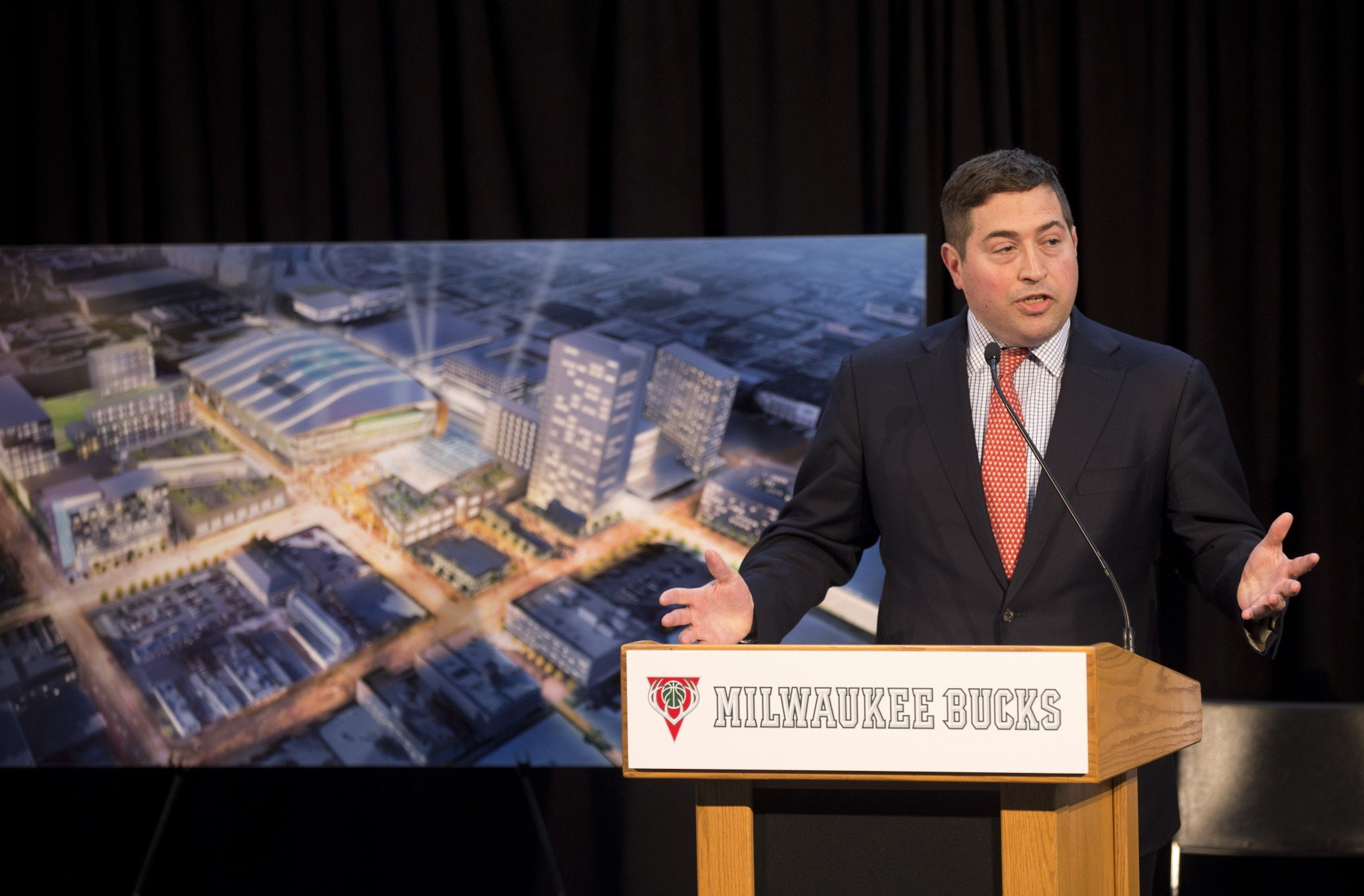 Milwaukee Bucks President Peter Feigin speaks at an April 7, 2015, press conference. (AP)